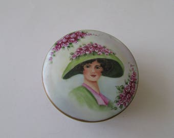 Vintage Porcelain Portrait Jewelry Box Hand Painted  Trinket Box