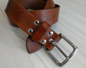 Handmade, hand riveted leather belt with stainless steel buckle