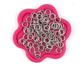 x 100 rings open silver stainless steel 5mm (36)