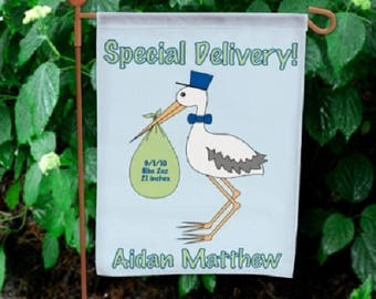 Personalized Special Delivery Stork Baby Boy Announcement Decorative Garden Flag