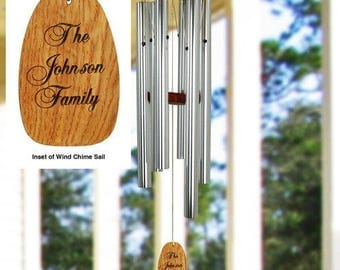 Personalized Family Wind Chime Wood Sail Engraved