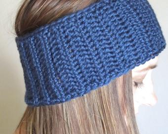 Crocheted Dark Country Blue Headband