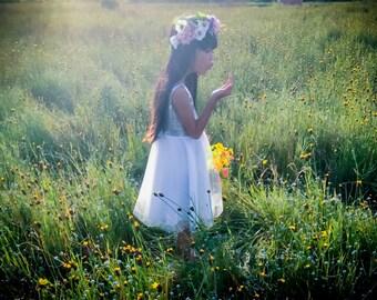 Girl Dress , Flower Girl Dress, Silver Seqin girls Dress Shoulder , sparkle Flower Gril dresses, Baby dresses