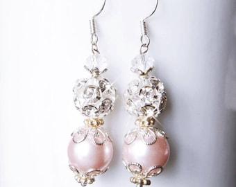 Champagne Pearl Earrings Bridesmaid Earrings Silver Filigree Pearl Rhinestone Earrings Long Bridesmaid Gift  Peach Pearl Earrings Bride Gift
