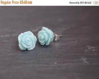 Sale Blue Flower Stud Earrings  Delicate Post Earrings Shabby Chic Girl Earrings Blue  Flower Earrings Blue Flower Stud Chrictmas gift