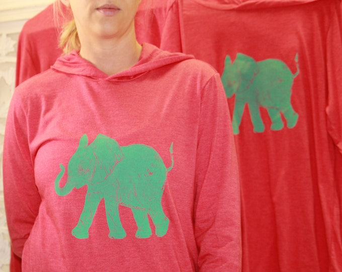 Teal Elephant on Washed-out Red Hoody