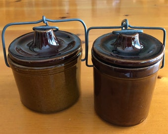 Vintage Set of Two Brown Glazed Stoneware Crocks with Bail Wire Lids