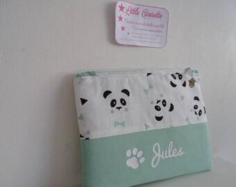 Large custom name cotton small Panda fleece pouch