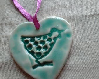 Hanging Decorative Hen Porcelain Heart