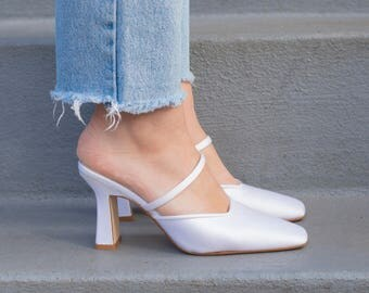 vintage white satin heels | ivory high heel slides | strappy pumps | wedding shoes | white square toe pumps | 7 | 37 | 1980s | 80s