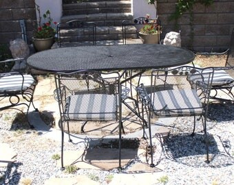 Vintage Woodard Salterini collection Wrought Iron Patio set, Oval table & 6 armchairs(2 rockers), outdoor furniture, Flower and Leaf pattern