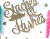 Staches or lashes glitter cake topper, boy or girl, baby shower, gender reveal party