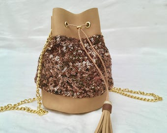 Mini Tan Leather bucket bag
