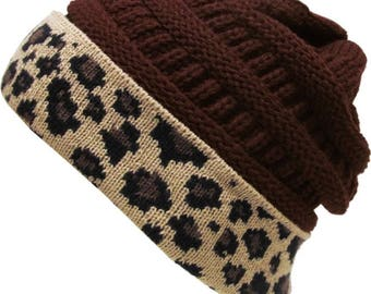 Leopard Fold Up Beanie Brown