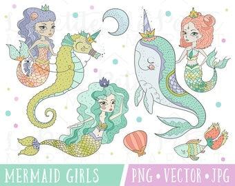 Cute Mermaid Clipart Images, Pretty Mermaid Clipart Set, Cute Mermaid Illustrations, Mermaid with Seahorse, Mermaid and Narwhal Clipart