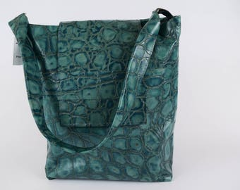 Teal Tortoise Embossed Leather Conceal Carry Purse
