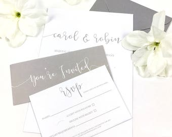 Romantic Grey and White Personalised Wedding Invitation & RSVP set with belly band / Wedding invite / UK