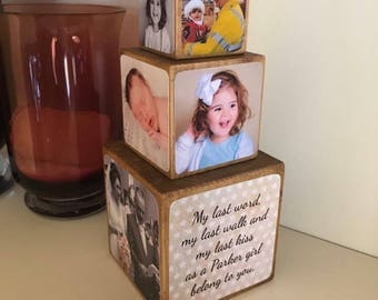 Stacking Photo Cubes / set of 3 cubes / Photo Block / Photo Gift Idea / wooden photo block / photo keepsake / wooden block / photo gift