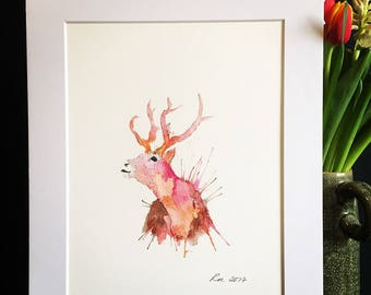 Pink Stag Watercolour Print