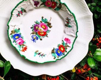 Claudette • Glass Garden Flower • Yard Art • Vintage Floral China Repurposed Glass Garden Flower • China Plate Flower
