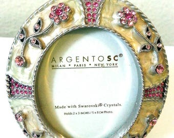 """Argento SC Swarovski Crystal Oval Picture Frame. 2"""" x 3"""". Beige and Pink Small Enameled Picture Frame."""