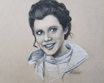 Original Princess Leia Charcoal Sketch