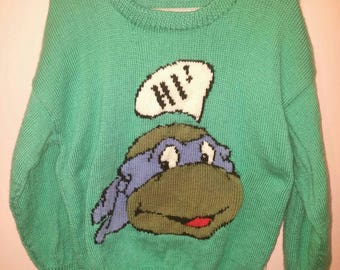 Green sweater mens medium leonardo ninja turtle