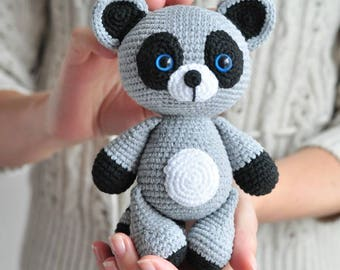 Crochet Raccoon, Amigurumi Raccoon, Raccoon Stuffed Animal, Animal Plushie