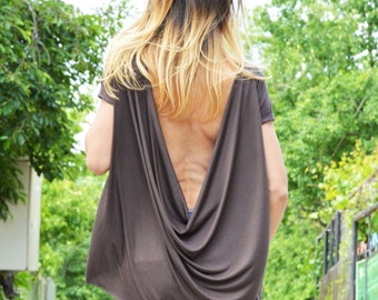 Extravagant Loose Viscose Tunic, Backless Tunic Top, Ovesized Casual Tunic, Maxi Blouse, Short Sleeves by SSDfashion