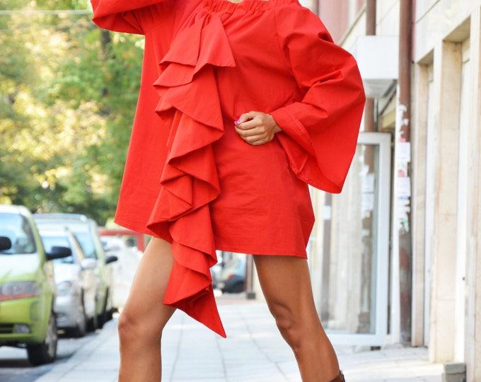 Extravagant Women's Red Shirt, Maxi Asymmetric Summer Shirt, Modern Urban Style Shirt, Elegant Shirt by SSDfashion