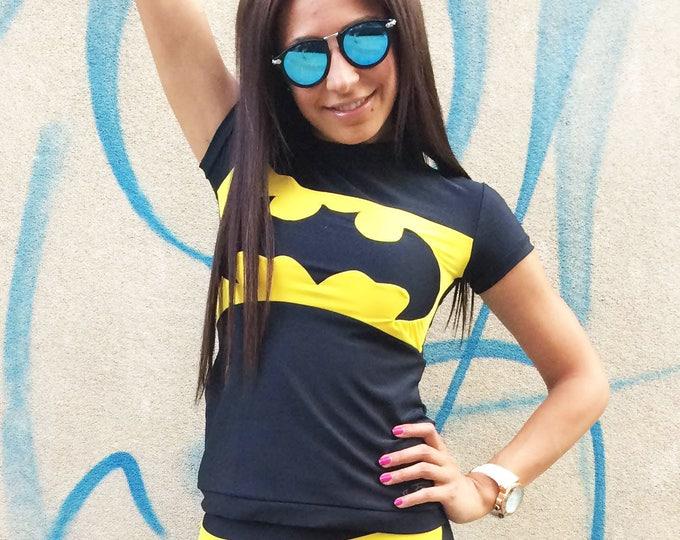 New Workout Batman T-shirt, Women Tight Tee, Ultra Soft Light Casual Sport Wear, Design Yoga Top by SSDfashion