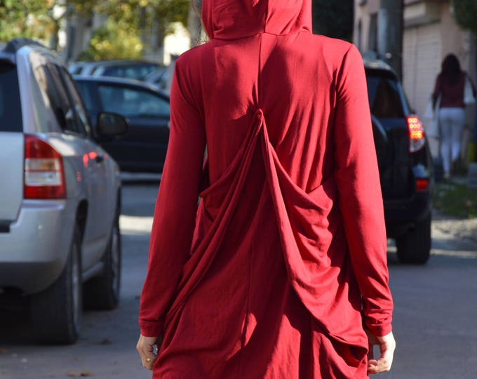 Asymmetrical Extravagant Hooded Tunic, Cotton Casual Loose Tunic, Long Sleeves Burgundy Blouse by SSDfashion