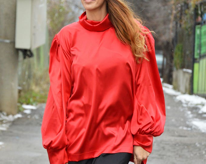 Turtleneck Shirt with Puffed Sleeves, Elegant Red Zipper Blouse, Oversized Extravagant Satin Shirt by SSDfashion