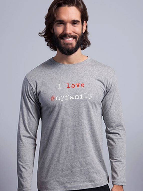 Round neck men long sleeve t-shirt I LOVE #MYFAMILY