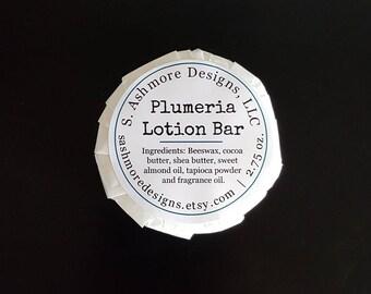 Plumeria - Solid Lotion Bar - Body Butter - Handmade - 2.75oz