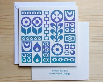 Retro Floral Card, Retro 70s Card, BLUE PUPLE, Flower Card, Thank You Card, Flower Birthday Card, Blank Card, 70s Floral Card