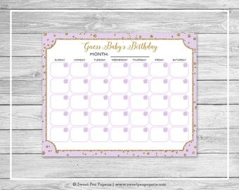 Purple and Gold Baby Shower Guess Baby's Birthday - Printable Baby Shower Guess Baby's Birthday Game - Purple and Gold Baby Shower - SP148