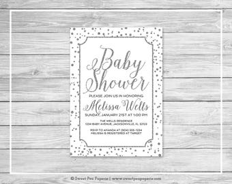 White and Silver Baby Shower Invitation - Printable Baby Shower Invitation - White and Silver Baby Shower - Baby Shower Invitation - SP154
