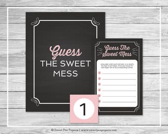 Chalkboard Baby Shower Guess The Mess Game - Printable Baby Shower Guess The Sweet Mess Game - Pink Chalkboard Baby Shower - Game - SP155