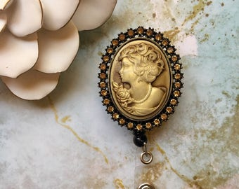 Vintage Golden Cameo -Nurse Retractable ID Badge Reel/ RN Badge Holder/Doctor Badge Reel/Nurse Badge Holder/Student Nurse badge reel/ nurs