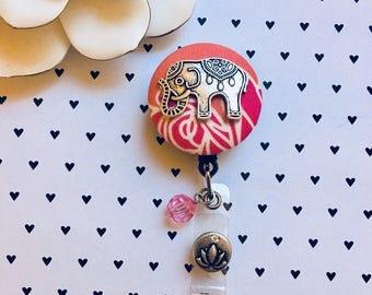 Elephant in a Rose Jungle -Nurse Retractable ID Badge Reel/ RN Badge Holder/Doctor Badge Reel/Nurse Badge Holder/Nursing Student Gifts