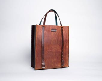 Leather Convertible Backpack Tote Bag