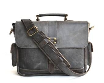 White Wash Waxed Dark Brown Leather Traveler Briefcase, Womens Leather Satchel Pockets, Handmade Leather Messenger Bag, Leather Briefcase