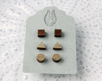 Geometric Wood Stud Earring Set