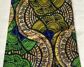"African Print Fabric/ Ankara - Brown, Green, Yellow ""Chijo"", YARD or WHOLESALE"