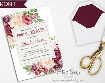 Burgundy Floral Bridal Shower Invitation | Cranberry Bridal Invite | Fall Bridal Shower Invitation | Rose Bridal Shower Invitation Printable
