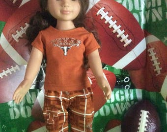 University of Texas,LONGHORNS ! 18 Inch Doll Clothes ,Handmade ,Fits All 18 Inch  Dolls ,2PC College Football  Outfit
