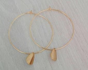 """"""""""" Earring hoop thin """"Elisa"""" plated pendant drop"""