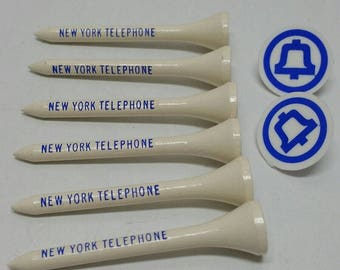 New York Telephone Lot 6 Golf Tees & 2 Markers Advertising Vintage BELL ATLANTIC NY Rare Telephone Company