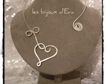Aluminum silver and hammered Heart Necklace